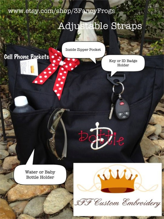Personalized Tote or Diaper Bag Baby Boy or Girl Lots of Colors to Choose from Custom Embroidery