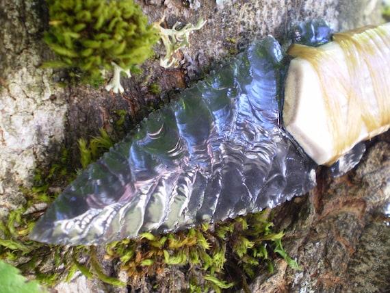 Flint Knapped Obsidian Knife with antler tine handle.