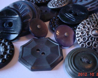 Grey Black Vintage Mid Century Buttons