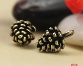 20pcs Delicate Brass Pine Cone Charm