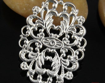 10pcs Brass Oval Filigree Connector Charm