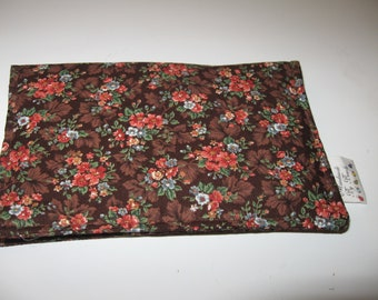 Checkbook Cover - small wallet - fabric checkbookcover - brown floral