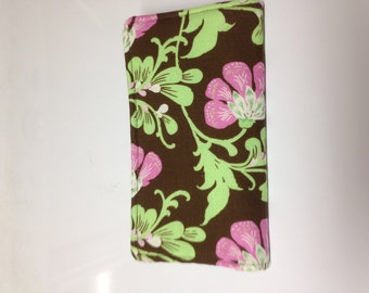 Checkbook Cover Green Pink Flowers on Brown Print Fabric Checkbook Cover