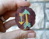 Tribal Arrow Brooch / Mint and Mustard Wood Pin / Eco friendly Jewelry