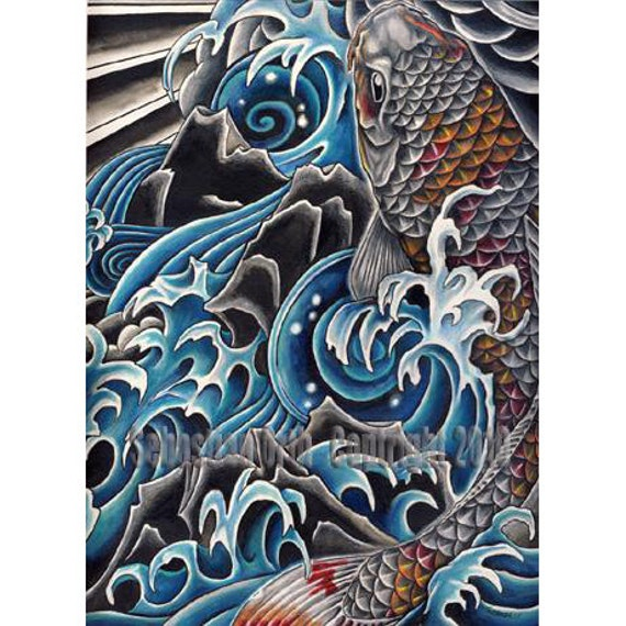 items similar to koi in waterfall art print by sebastian