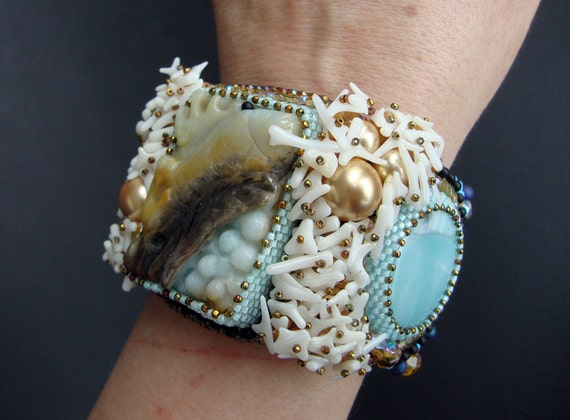 "Bead Embroidery Cuff   ""Fish""  Bracelet"