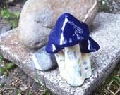 Three Blue Mushrooms