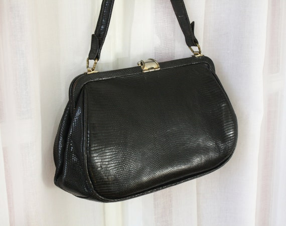 Lady Like - French Vintage Small Black Leather Purse Snakeskin
