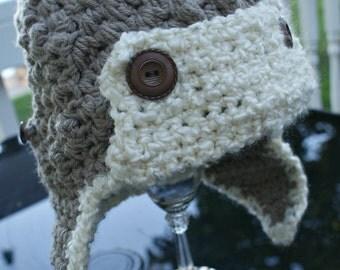 Baby crochet Aviator Hat, Crocheted Baby Hats, Newborn Aviator Hat, Flaps, Brim, Winter Hat,