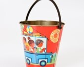 Vintage Tin Pail - Kids Nursery Room Decor - Made in GDR
