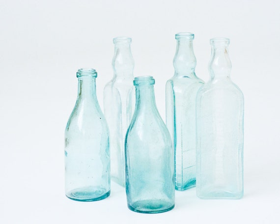Blue Aqua Glass Vintage Soviet Bottles - USSR - Collection of 5 Retro Bottles - Collectibles - Home Decor