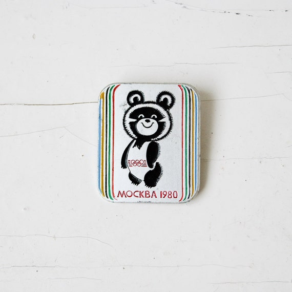 The Olympic Mishka Vintage Badge - 1980 Summer Olympics in Moscow
