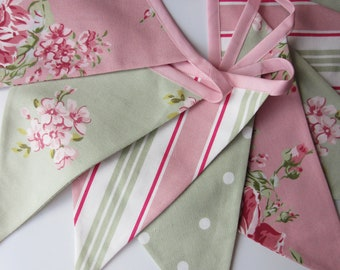 Fabric Bunting, Pink, Sage Green Flag Bunting, Cottage Chic, Rustic, Weddings, Floral, Dots, Stripes,Flag Garland  Double Sided Flags