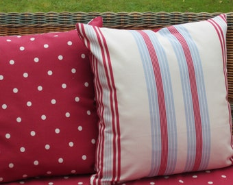 Set Two 16 Inch Nautical Pillow Covers, Red White Blue Stripe, Nautical Cushion Covers, Striped Cushion Covers backed with Red Dotty Fabric