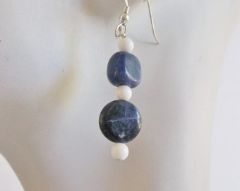 Blue Sodalite and White Jasper Earrings