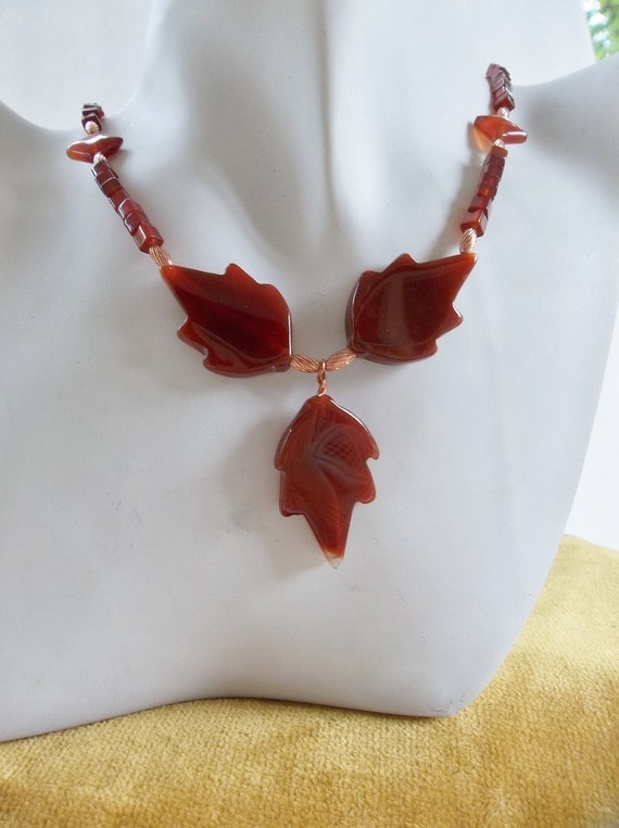 Triple Carnelian Leaf Necklace With Copper Beads