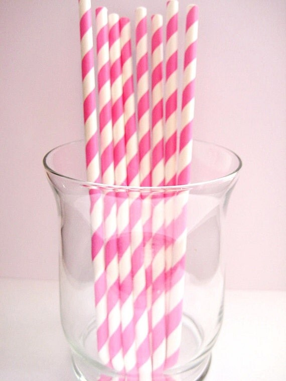 25 Pink & White Striped Retro Party Paper Drinking Straws A104