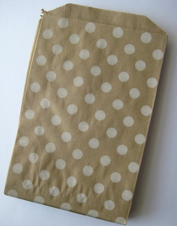 20 Kraft Polka Dots Bitty Bags - Party Favor - Candy - Party Supplies A114