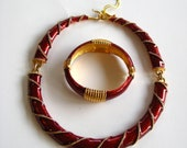 RESERVED:Vintage Designer Signed Kenneth Jay Lane Enamel Rope Collar 80's Necklace matching bracelet, KJL