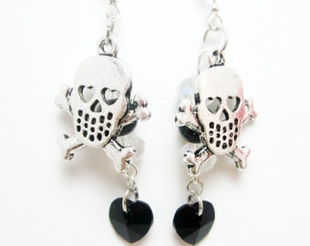 Black Swarovski Heart and Skull Charm Earrings Pirate Goth