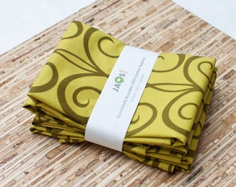SALE - Large Cloth Napkins - Set of 4 - (N782) - Green Swirls Modern Reusable Fabric Napkins