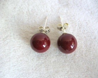 Cherry Red Round Shell Pearl Earring Studs 10mm