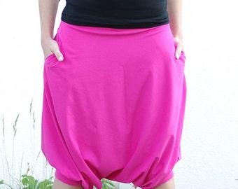 Soft pink short gipsy harem bohemian parachute pants with pockets - READY to ship