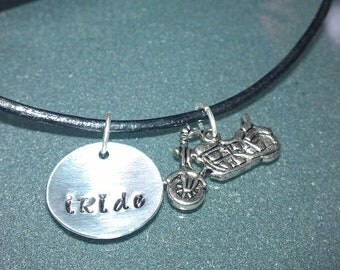 """Aluminum and Leather """"iRide"""" necklace with Motorcycle Charm - UNRIDE02"""