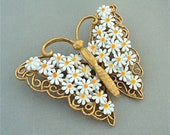 RESERVED LISTING Vintage Butterfly Brooch 1960s 1970s Enamel Flower Brooch DAISY Brooch Tiny White Yellow Daisies Gold Tone Metal