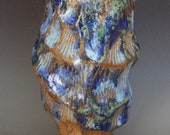 """Flower bud vase with sea shell texture, aqua, turquoise blue, green, and brown,  4"""" x 2 1/2"""""""