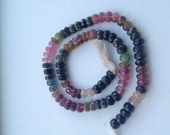 Tourmaline Faceted Rondelles-7mm