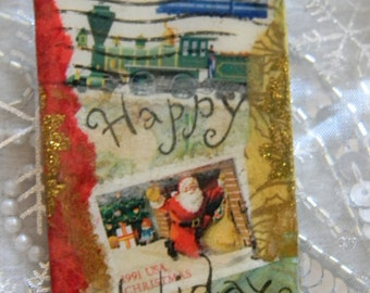 Happy Holidays Decoupage Christmas Stamp Holiday Brooch