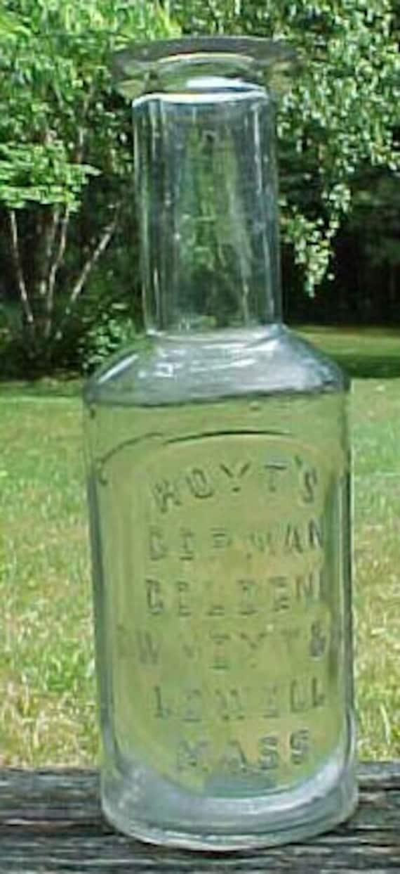 c1890s Hoyt's German Cologne E. W. Hoyt & Co. Lowell, Mass. small size, Cork Top Blown Glass Cologne bottle No. 3