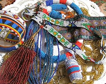 Take 20% Off SALE Vintage African & Indian Bead Work Collection NINE Pieces