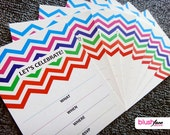 Fill-In Invitations - Colourful Chevron Pattern  - Lets Celebrate - 4x5.25 Invitations - Pack of 8