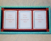 Teal Faux Quilt Photo Frame