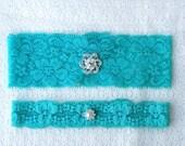 Something Blue Garter Set Rhinestone Crystal Pearl Ribbon Lace Toss Keepsake Garter Tiffany Blue GR049LX