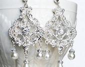 Bridal Earring Wedding Earring Rhinestone Chandelier Earrings Crystal Pearl Chandelier Earrings Bridal Wedding Jewelry ER043LX