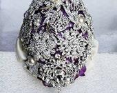 Vintage Cascading Teardrop Bridal Brooch Bouquet Tear Drop Pearl Rhinestone Crystal Silver Dark Purple Ivory BB014LX