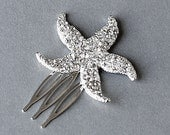 Bridal Rhinestone Hair Comb Crystal Starfish Hair Comb Hair Clip Wedding Hair Accessories Beach Wedding Wedding Jewelry CM031LX