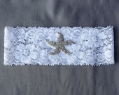 Wedding Garter Bridal Garter Set White or Ivory Lace Garter Belt Rhinestone Crystal Starfish Garter Belt Beach Wedding GR074LX