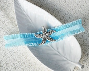 Wedding Garter Bridal Garter TURQUOISE BLUE Garter Set Lace Garter Rhinestone Crystal Starfish Garter Beach Wedding GR001LX