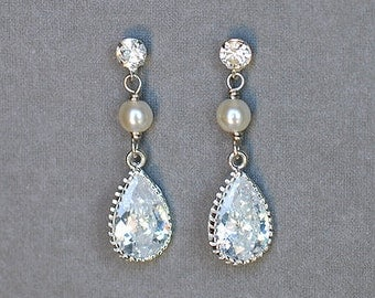 Bridal Earring Wedding Earring Rhinestone Earring Crystal Dangling Earring Pearl Earring Wedding Jewelry Bridal Jewelry ER027LX