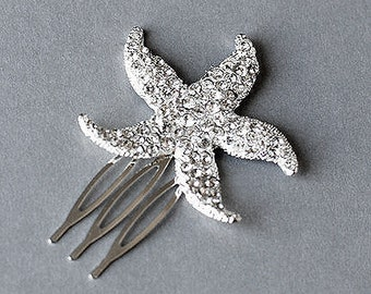 Bridal Rhinestone Hair Comb Crystal Starfish Hair Comb Hair Clip Wedding Hair Accessories Beach Wedding Wedding Jewelry CM031LX