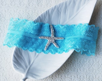 Wedding Garter Bridal Garter TURQUOISE BLUE Garter Set Lace Garter Rhinestone Crystal Starfish Garter Beach Wedding GR075LX