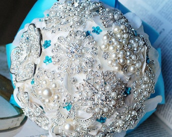 Vintage Bridal Brooch Bouquet - Pearl Rhinestone Crystal - Silver Turqoise  Aqua Blue Ivory -One Day RUSH ORDER Available - BB025LX