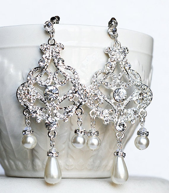 Bridal Earring Wedding Earring Rhinestone Chandelier Earrings Crystal Pearl Chandelier Earrings Bridal Wedding Jewelry ER043LX