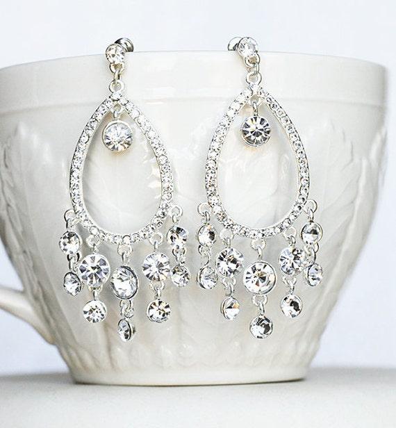 Bridal Earring Wedding Earring Rhinestone Chandelier Earrings Crystal Chandelier Earring Bridal Jewelry Peacock Feather ER044LX