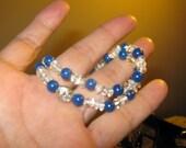 Cool Lapis and Quartz Crystal Stretch Bracelets