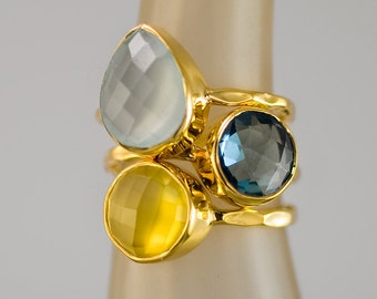 Set of Mother's Rings - Mother's Ring Set - Stackable Stone Ring Set - Birthstone Ring Set - Gold Rings - Statement Rings